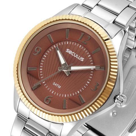 Imagem de Relógio Feminino Seculus 20545L0SVNS3 Prata com Dourado