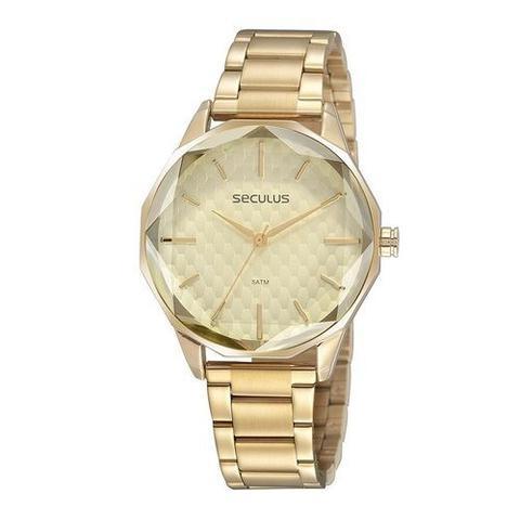Imagem de Relógio feminino seculus analógico dourado 77075lpsvds1