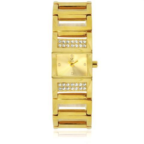 Imagem de Relogio Feminino VOX Caixa Quadrada em Aco Dourado com Detalhes em Cristais Fundo Dourado com Detalhes em Cristais Pulseiras em Aco Dourado