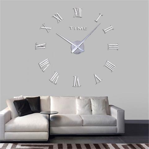 Imagem de Relógio Grande 3D Parede Romanos Sala Escritório Casa Decoração