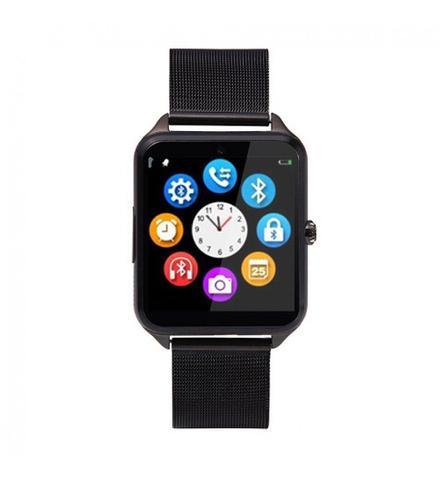 Imagem de Relógio Inteligente Smartwatch Z60 + Fone s6 Metal Bluetooth Câmera Celular Chip Passos Touch Anti Perda Mp3 Mp4 Ligações