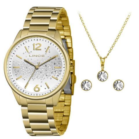 Imagem de Relógio Lince Feminino Ref: Lrgh106l Kw65s2kx Dourado + Semijóia