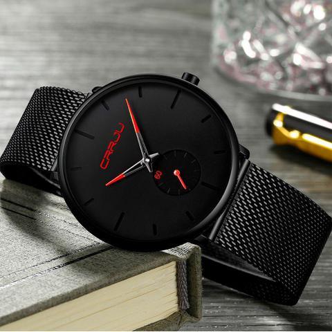 Imagem de Relógio Masculino Com Pulseira Preta De Aço Inox Resistente à Água CRRJU - NANO