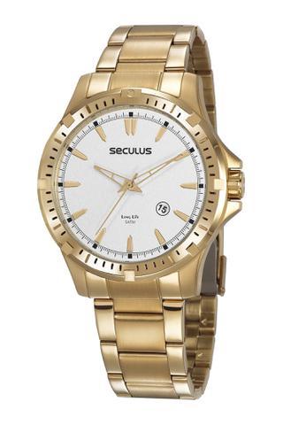 Imagem de Relógio Masculino Dourado em Aço Seculus 20788GPSVDA3