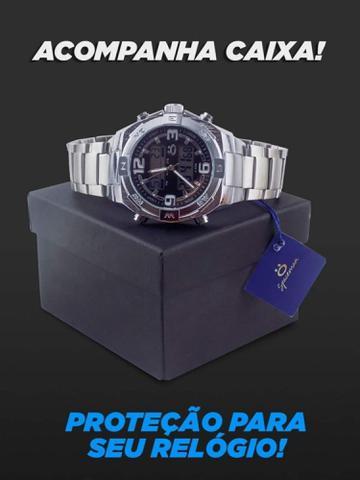 Imagem de Relógio Masculino em Aço 100% Funcional Analógico e Digital