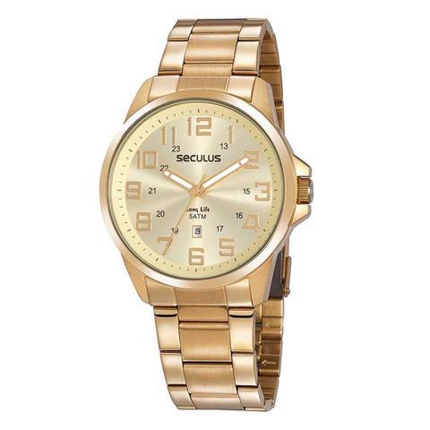Imagem de Relógio Masculino em Aço Dourado 20807GPSVDA3 Seculus