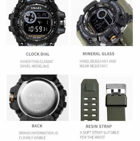 Imagem de Relógio Masculino Esportivo Militar Shock Smael 8010 ArmyGreen