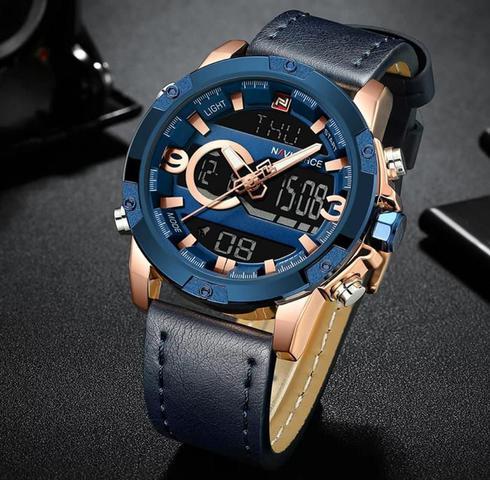 Imagem de relogio masculino naviforce 9097 digital analogico pulseira em couro