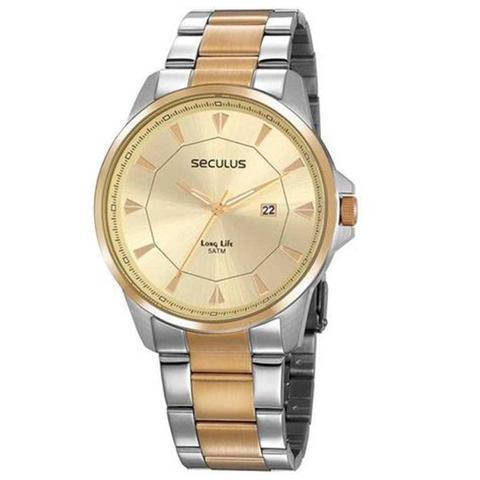Imagem de Relógio Masculino Prata e Dourado 203175 Seculus