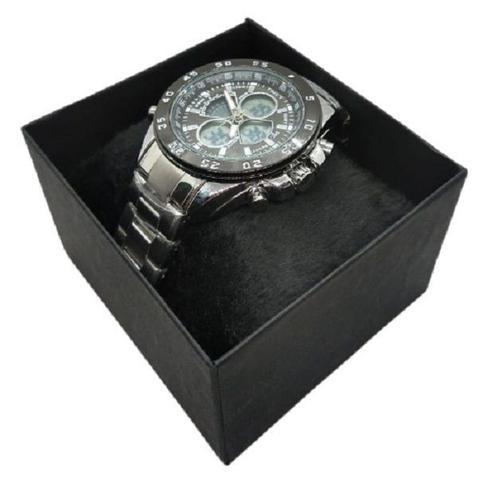 Imagem de Relógio Masculino Prata Funcional Resistente Aço Inoxidável Digital/Analógico