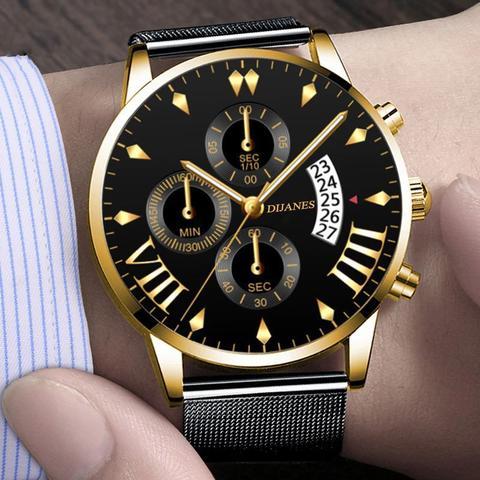 Imagem de Relógio Masculino Preto e Dourado Malha Aço Quartz