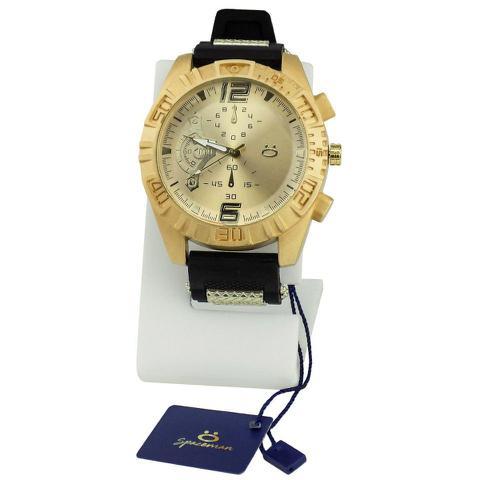 Imagem de Relógio masculino quartz dourado Orizom + boné