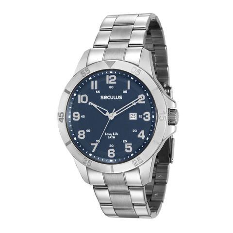 Imagem de Relógio Masculino Seculus Aço Catraca Fundo Azul Long Life