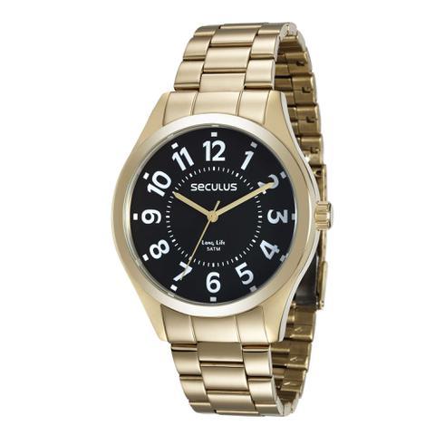 Imagem de Relógio Masculino Seculus Aço Dourado Fundo Preto Long Life
