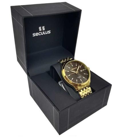 Imagem de Relógio Masculino Seculus Dourado Casual Long Life 5ATM Pulseira Aço