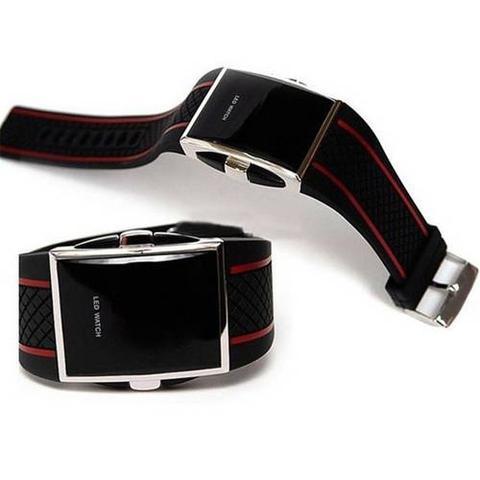 Imagem de Relógio Masculino Sport Black Led Digital Iluminado Vermelho