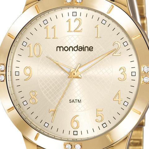 Imagem de Relógio Mondaine Feminino Dourado 83468LPMVDE2 Analógico 5 Atm Cristal Mineral Tamanho Grande