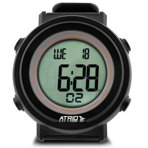 Imagem de Relógio Monitor Cardíaco Atrio Fortius ES049 Preto e Laranja Contador de Calorias Com Cinta Torácica