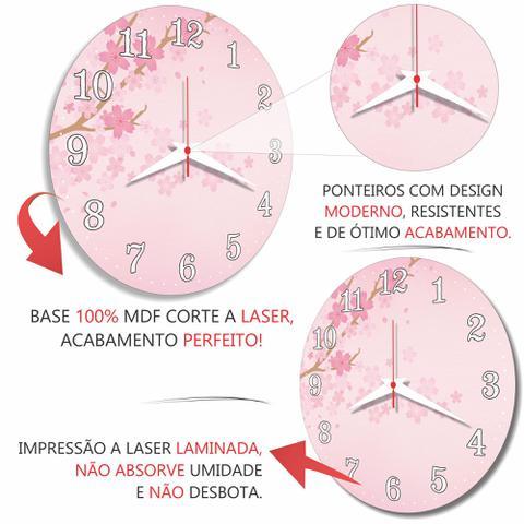 Imagem de Relógio Parede Flor Cerejeira Rosa Cozinha Retrô Árvore 30cm