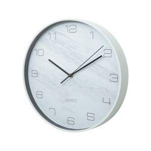 Imagem de Relogio parede plastico marble branco 31.5x31.5x4.5cm