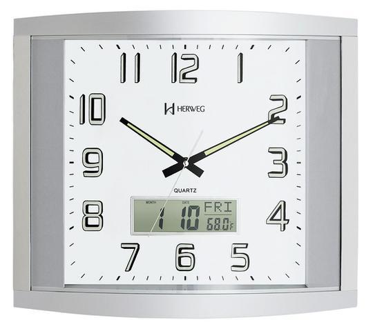 Imagem de Relógio Parede Prata Quadrado Grande Com Calendário e Termômetro Herweg - 6421
