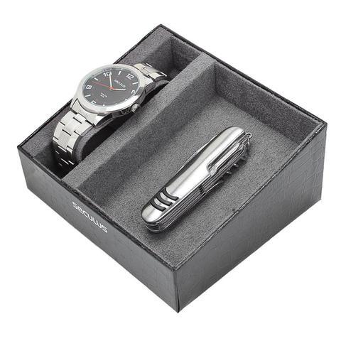 Imagem de Relógio Prata Masculino Seculus com Canivete 11 Funções 23811