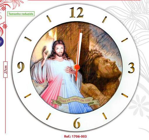 Imagem de Relógio redondo tema catolico religioso mdf 3mm jesus misericordioso