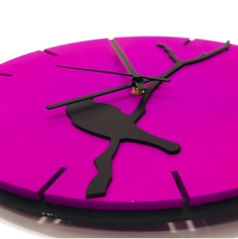Imagem de Relógio Roxo com passarinho decoração Sala Cozinha