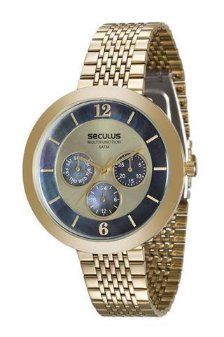 Imagem de Relógio seculus feminino dourado fundo azul 20541lpsvds1