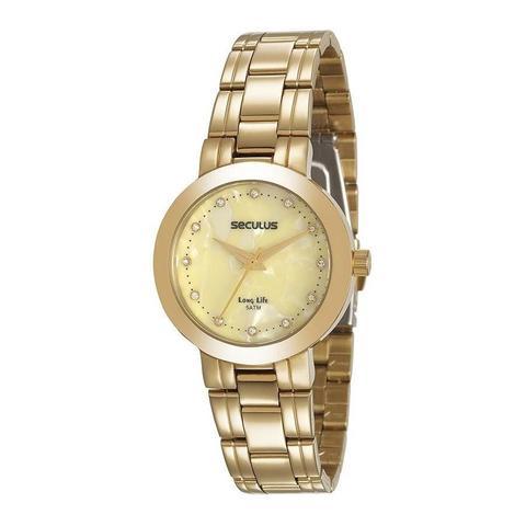 Imagem de Relógio Seculus Feminino Ref: 20543lpsvda1 Casual Dourado
