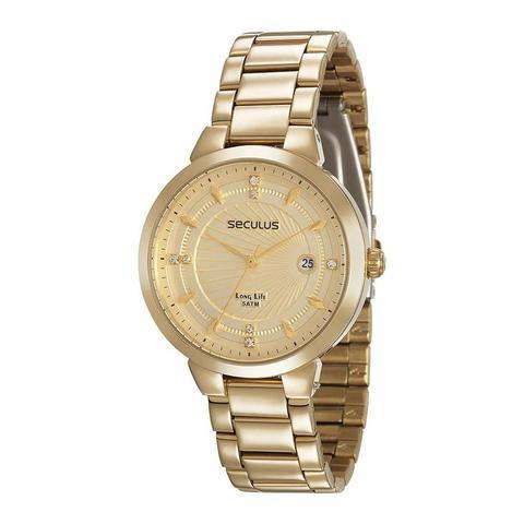 Imagem de Relógio Seculus Feminino Ref: 28902lpsvda1 Fashion Dourado