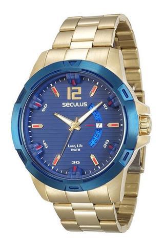 Imagem de Relógio seculus masculino 28741gpsvla1 dourado fundo azul