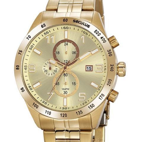Imagem de Relógio Seculus Masculino Aço Cronógrafo Dourado 20838GPSVDA3