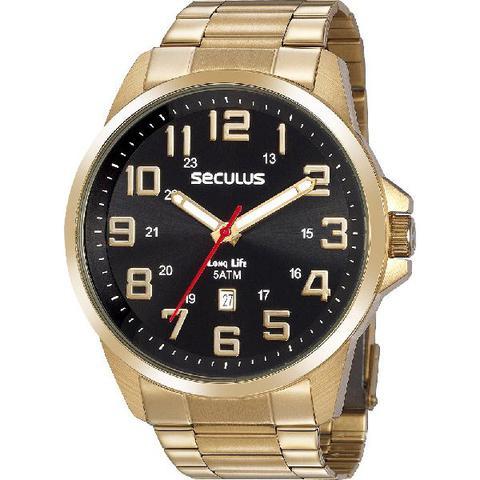 Imagem de Relógio Seculus Masculino Analógico Dourado Aço Calendário 20807GPSVDA2