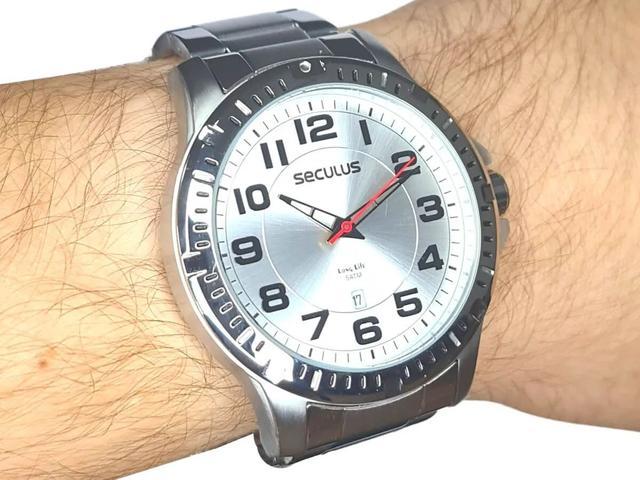 Imagem de Relógio Seculus Masculino em Aço Casual Prata 20787G0SVNA1