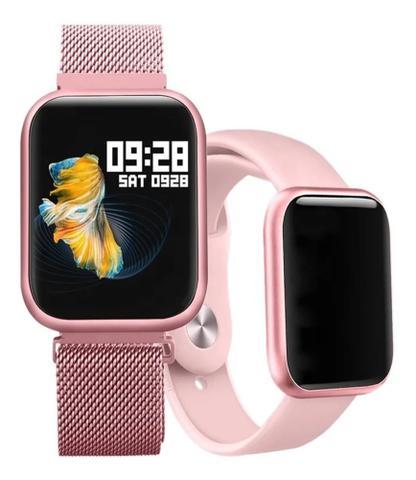 Imagem de Relógio Smart Watch P80 Rosa C/ Duas Pulseiras Batimento Cardíaco DAFIT