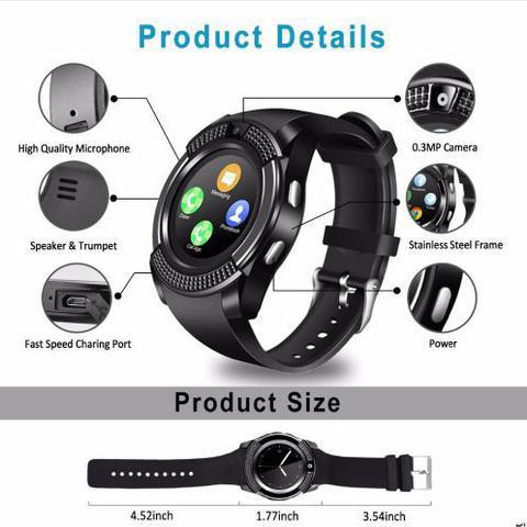 Imagem de Relógio Smartwatch V8 Original Touch Bluetooth Gear Chip - Preta