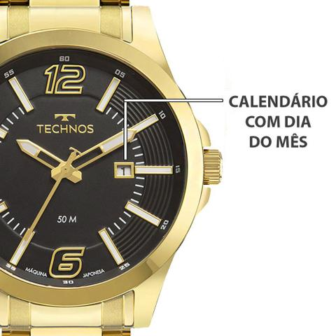 Imagem de Relógio Technos Masculino Golf Banhado Ouro 18k Dourado + Brinde Carteira