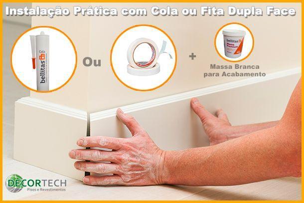 Imagem de Rodapé Branco Premium 7 Cm Frisado De Poliestireno Pronto Uso