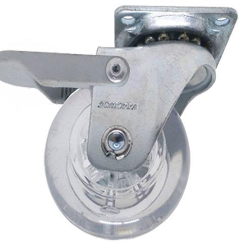 Imagem de Rodizio Gel 50mm Roda Giratoria Pu Silicone Rodinha Vaso moveis kit com 4un (2SF e 2CF)