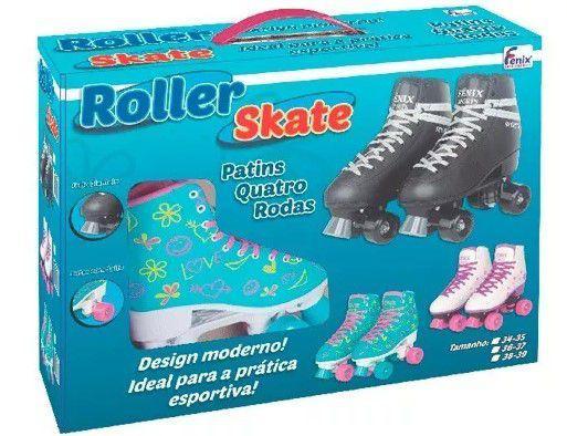 Imagem de Roller Patins Infantil e Adulto Feminino 4 Rodas Clássico Branco