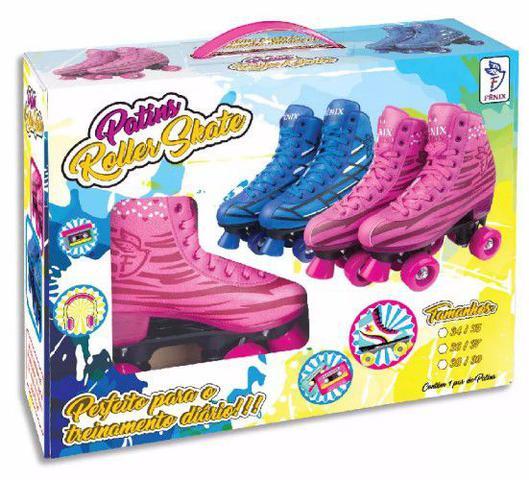 Imagem de Roller Patins Infantil e Adulto Feminino 4 Rodas Clássico Rosa