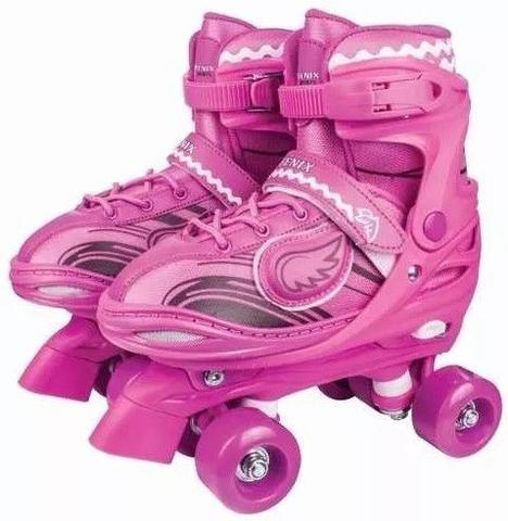 Imagem de Roller Patins Infantil Feminino 4 Rodas Clássico Com Led