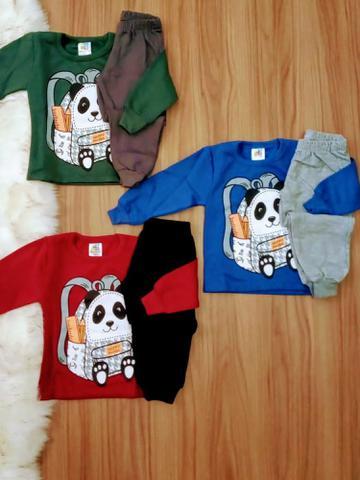 Imagem de Roupa para Menino kit 3 Conjuntos de Moletom Bebê Infantil Inverno 1/2/3 Calça+Casaco