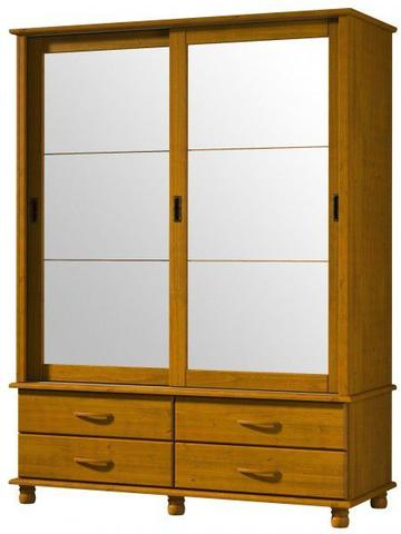 Imagem de Roupeiro 2 Portas Correr 4 Gavetas Com Espelho Esmeralda De Madeira Maciça Pinus