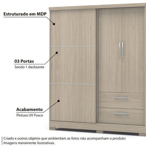 Imagem de Roupeiro 3 Portas 2 Gavetas C533 Kappesberg - Texturizado Amêndoa