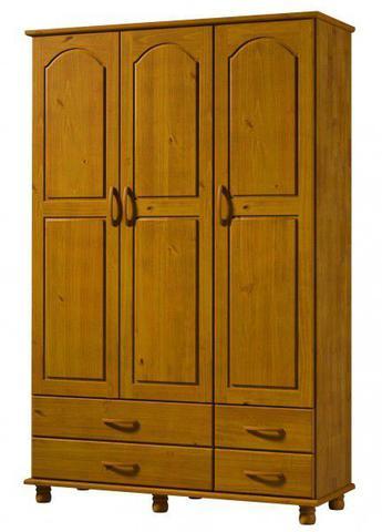 Imagem de Roupeiro 3 Portas  4 Gavetas Esmeralda De Madeira Maciça Pinus