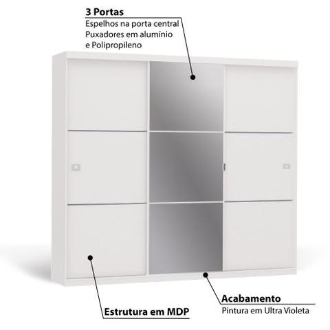 Imagem de Roupeiro 3 Portas de Correr 3 Gavetas e Espelho S743 Kappesberg - Branco Brilho