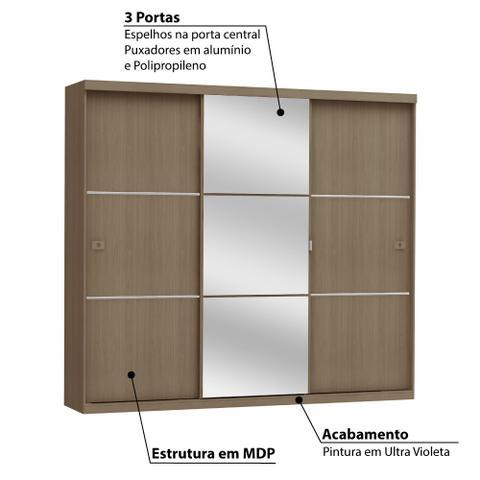 Imagem de Roupeiro 3 Portas de Correr 3 Gavetas e Espelho S743 Kappesberg - Nature