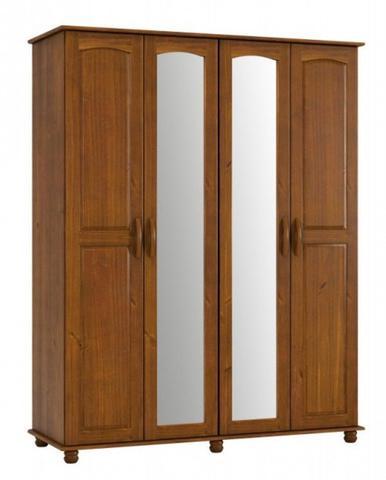 Imagem de Roupeiro 4 Portas Com Espelho Onix De Madeira Maciça Pinus